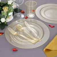 20 120pcs disposable cutlery set plastic gold silver glittering wedding birthday party tableware dinner knife fork dessert spoon