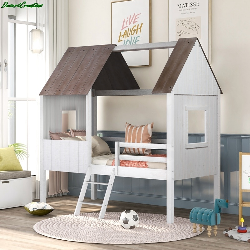 Twin Size Low Loft Wood House Bed With Two Side Windows, For Kids, Teens, Girls, Boys, Antique Gray