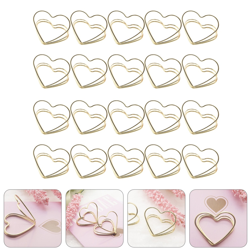 20pcs Metal Double Layer Love Shaped Memo Clips Business Cards Holders (Golden)