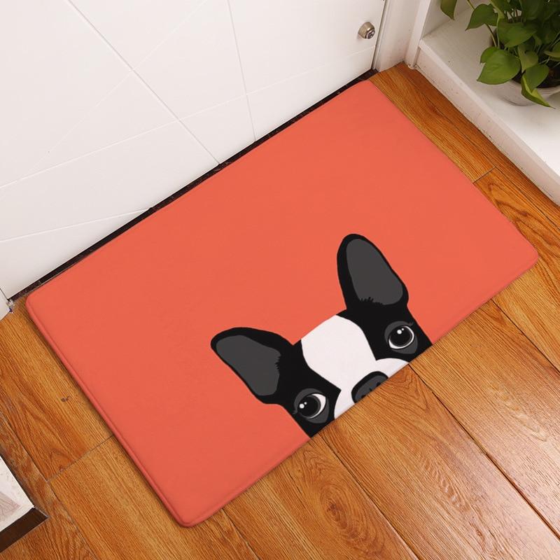 Esterilla de dibujos encantadora perros raza Pug puerta Mat alfombra impresa entrada alfombra esterilla cocina baño interior Anti-de salida de escape esteras