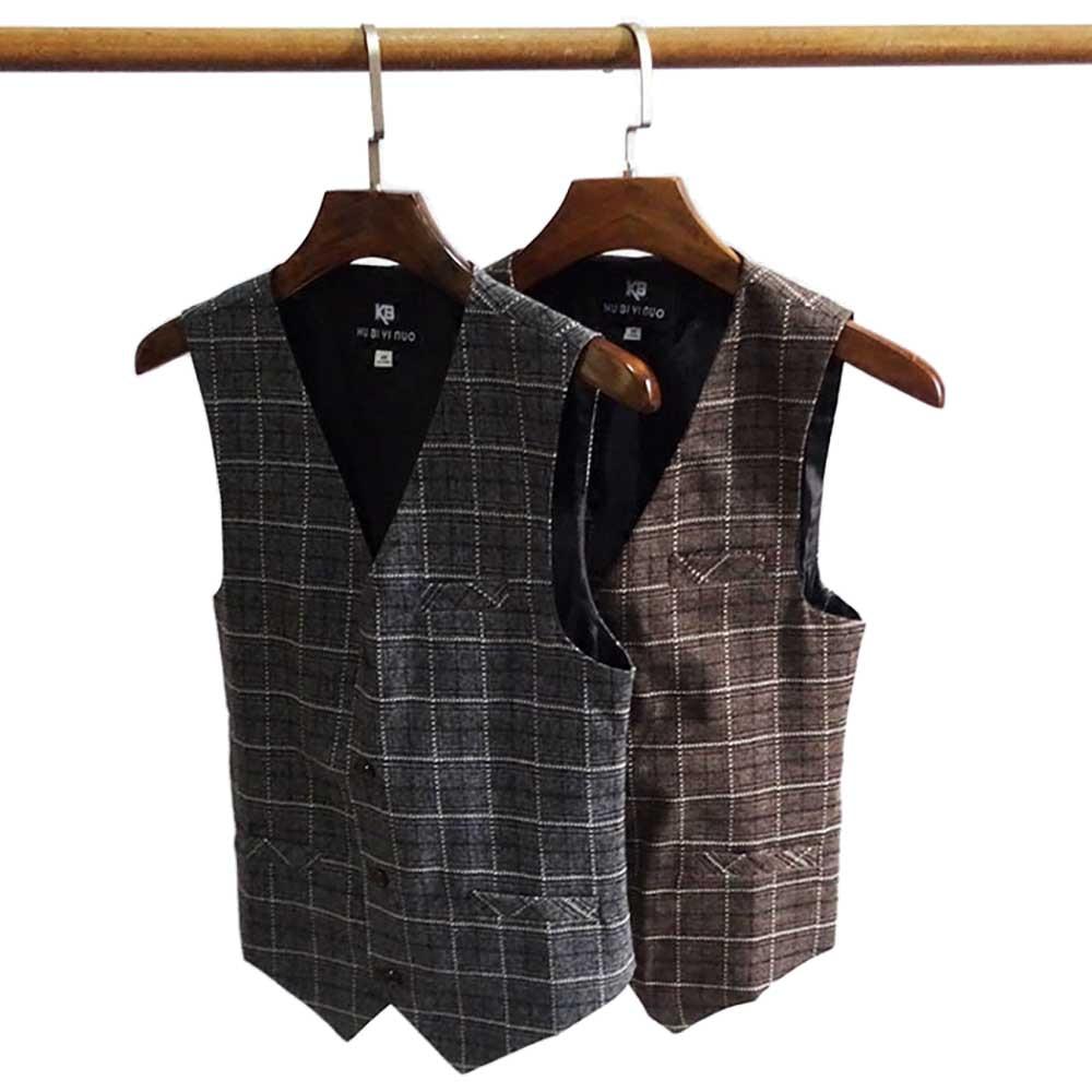 British Retro Dark Gray Fashion Plaid Waistcoat Mens Self-Cultivation Suit Vest Korean Business Leisure Office Wedding Clothing