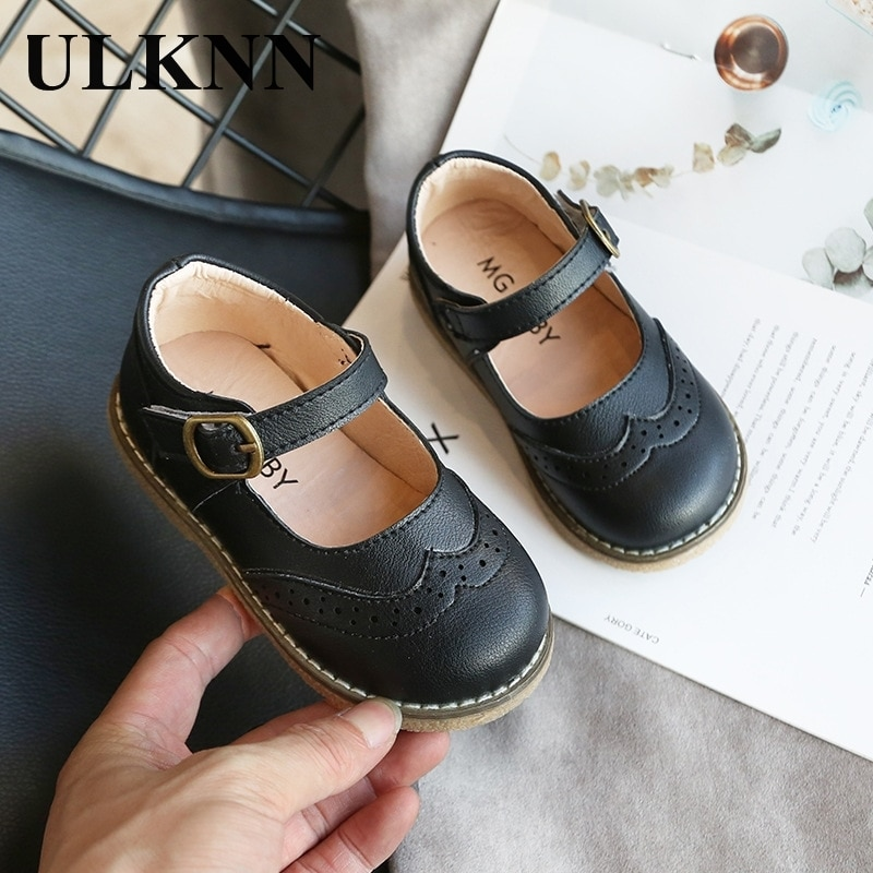ULKNN New Grils Leather Shoes Casual Girls Autumn Winter Kids Pu Show White Shoes Children's Black P