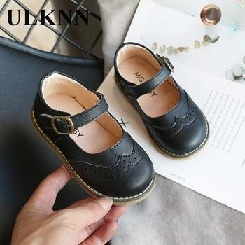 ULKNN Nouvelles Filles Chaussures En Cuir Décontracté Filles Automne Hiver Enfants Pu Montrer Blanc Chaussures Pour Enfants Noir Rose taille 21-30 Appartements