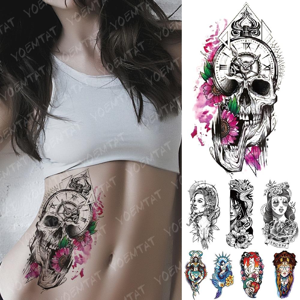 Tatuaje temporal a prueba de agua pegatina Margarita reloj cráneo Flash tatuajes sirena zorro demonio cuerpo arte brazo manga falsa tatuaje mujeres hombres
