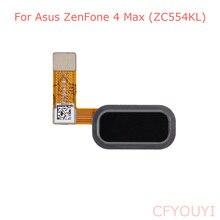 Pièce de réparation de câble flexible de bouton dempreinte digitale de clé à la maison de couleur noire pour Asus ZenFone 4 Max ZC554KL