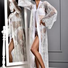Women Bathrobe Kimono Long Lace Mesh See Through Babydoll Erotic Long Robe Long Sleeve Bikini Beach