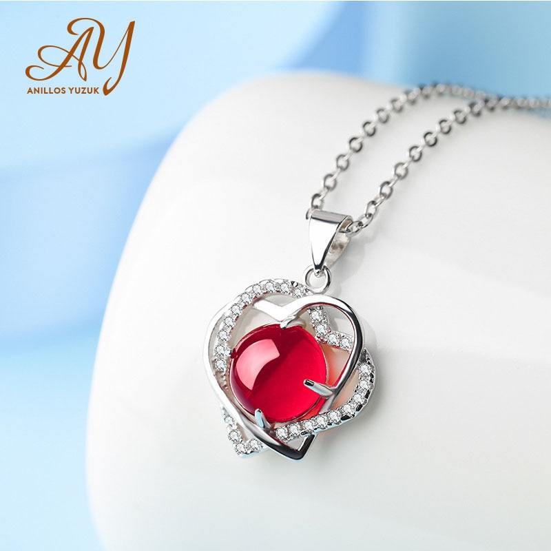 Collar con colgante de corazón de ágata Natural de anilos Yuzuk, Gargantilla de piedras preciosas de Plata de Ley 925, collar de declaración, joyería fina para mujer