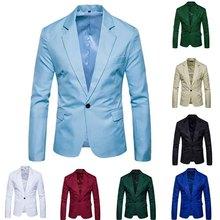 Décontracté hommes costume solide un bouton hommes rouge Blazer extérieur coupe cintrée veste homme à manches longues 8 bonbons couleur costumes grande taille M-XXXL