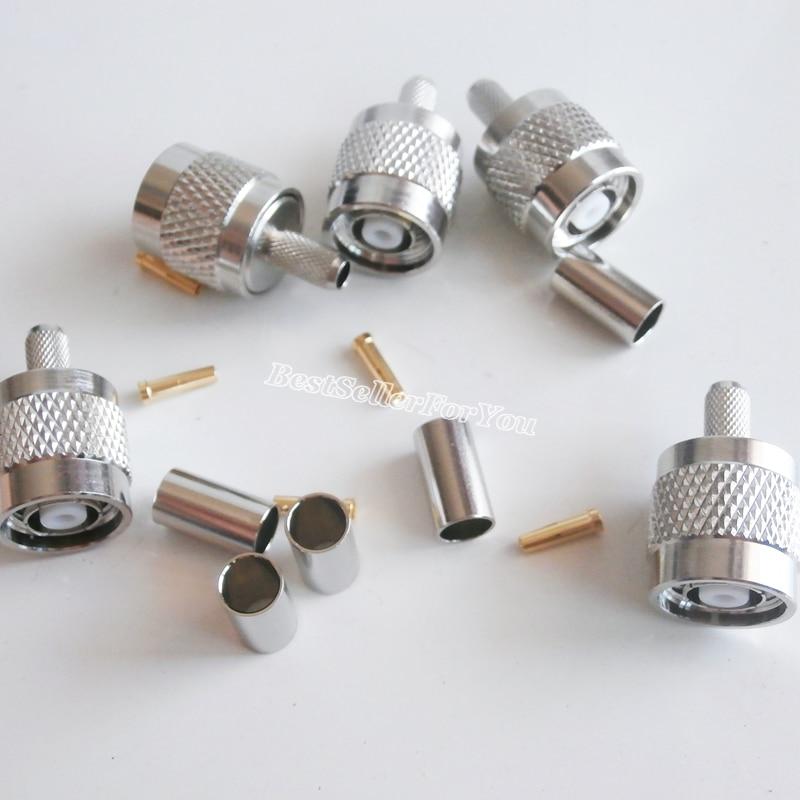 10 peça RP-TNC rptnc macho plug friso para rg58 rg142 rg400 lmr195 cabo conector rf