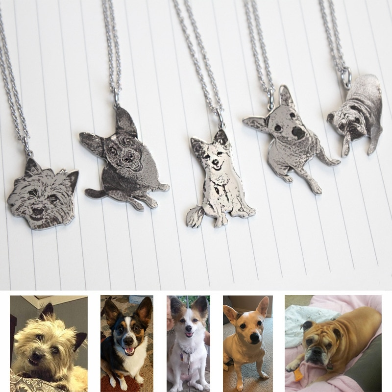 Custom Necklace Photo Stainless Steel Engraved Dog Tag Necklaces Personalized Name ID Memorial Pendant Jewelry