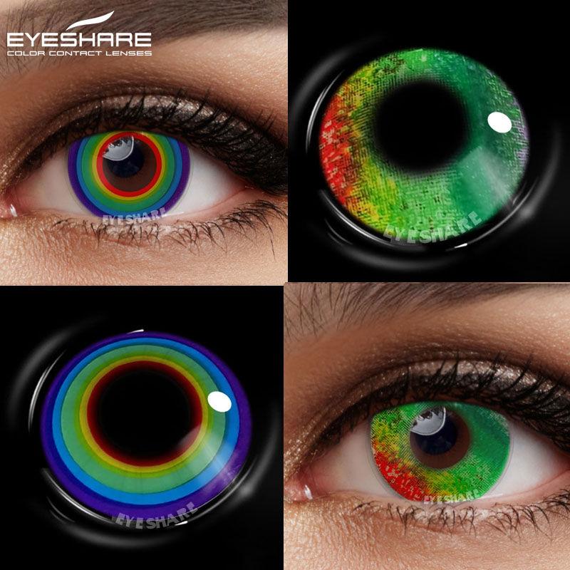 Цветные контактные линзы EYESHARE для глаз Аниме Косплей цветные линзы ed голубые радужные разноцветные контактные линзы ed линзы Красота Макияж