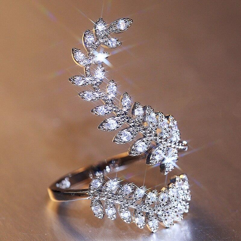 Huitan nova chegada moda folha abertura anel para festa de casamento feminino delicado anel de dedo zircônia cúbica anel ajustável jóias