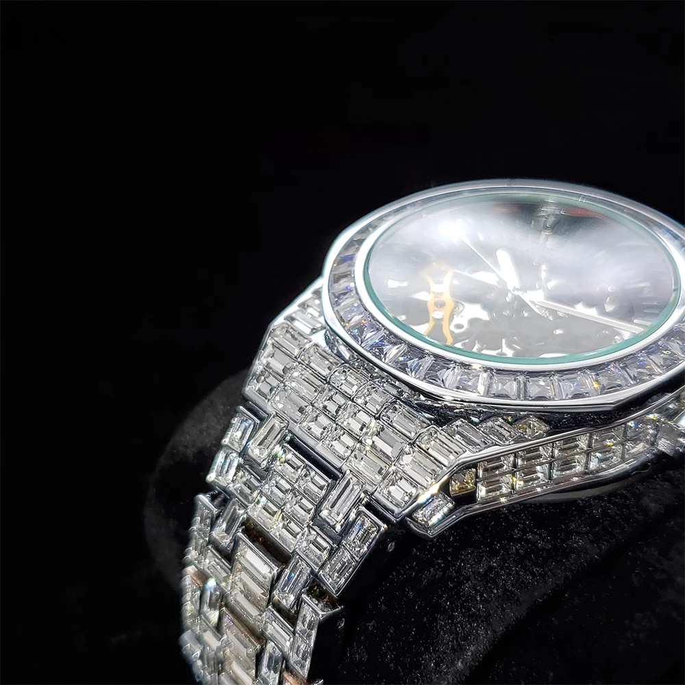 Hip Hop Automatic Mechanical Mens Watches Top Skeleton Brand Luxury Watch Fully Iced Out Baguette Diamond 18K AAA Jewelry Clocks enlarge
