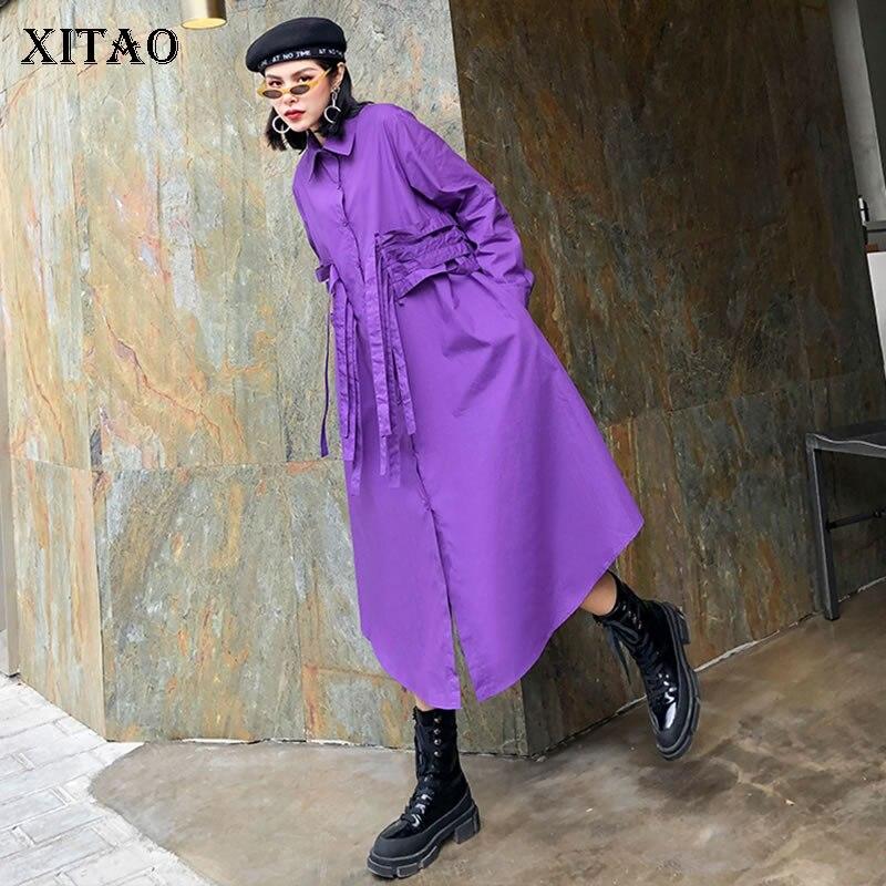 XITAO-vestido de talla grande con cordón, novedad de moda para mujer, primavera 2020, elegante, Irregular, pequeño, fresco, informal, DMY3365