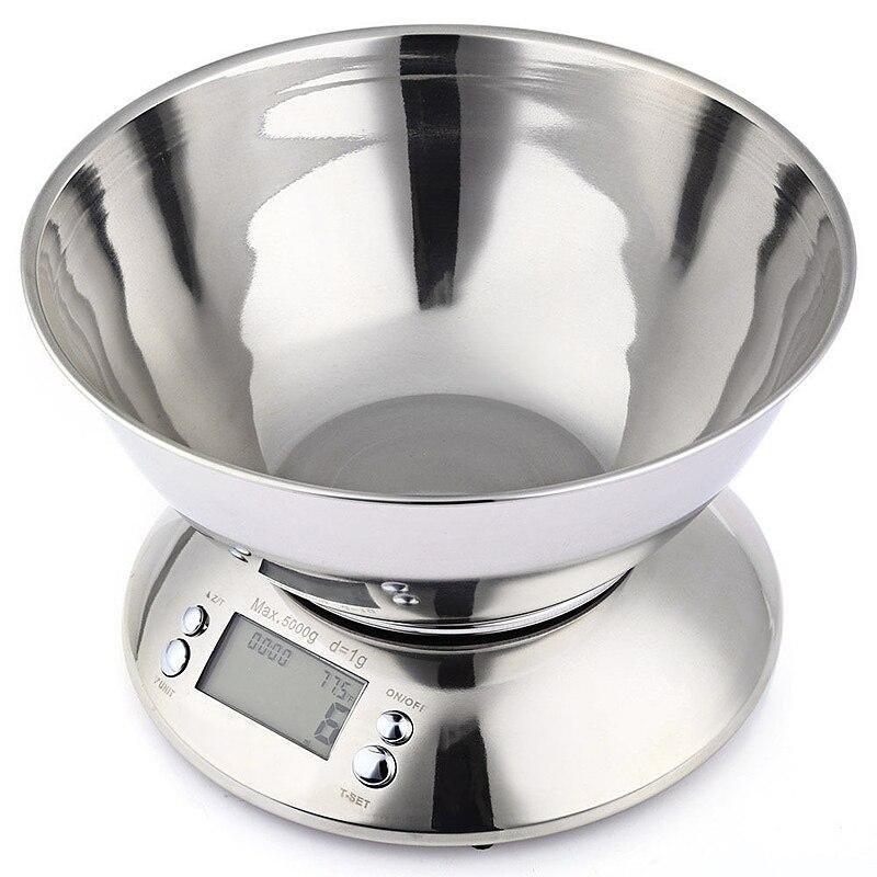 Домашние точные цифровые весы из нержавеющей стали, кухонные весы 5 кг, электронные весы, кухонные весы для еды, кухонные весы с чашей