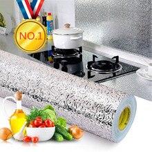 Pegatinas impermeables a prueba de aceite para cocina de 40x100cm, papel de aluminio para cocina, armario, autoadhesivo, adhesivo para pared, papel de pared DIY