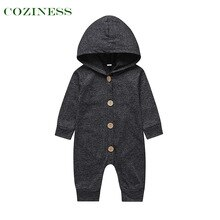 COZINESS Baby Romper Hooded Spring Autumn Single Breasted Neutral Child clothing Long Sleeve Thin Li