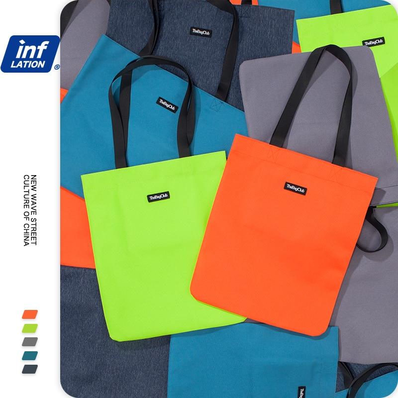 INFLATION Men Canvas Handbags 2020 Fashion Street Style Large Capacity Shopping Bag Male Women Shoulder Bag Tote Bag 345AI2020
