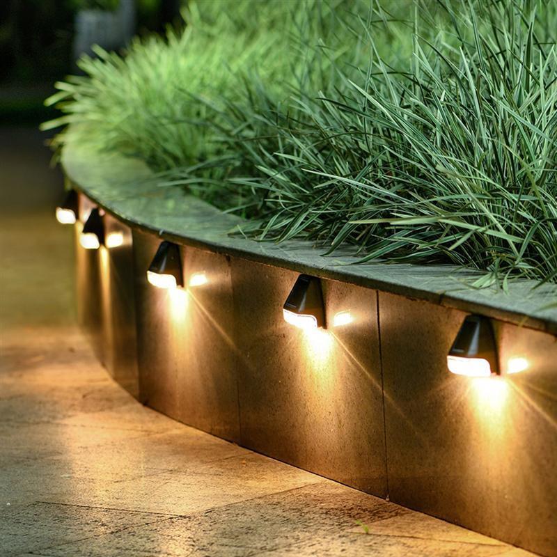 4 Uds Led Luces jardín colector Solar montado en la Luz LED...