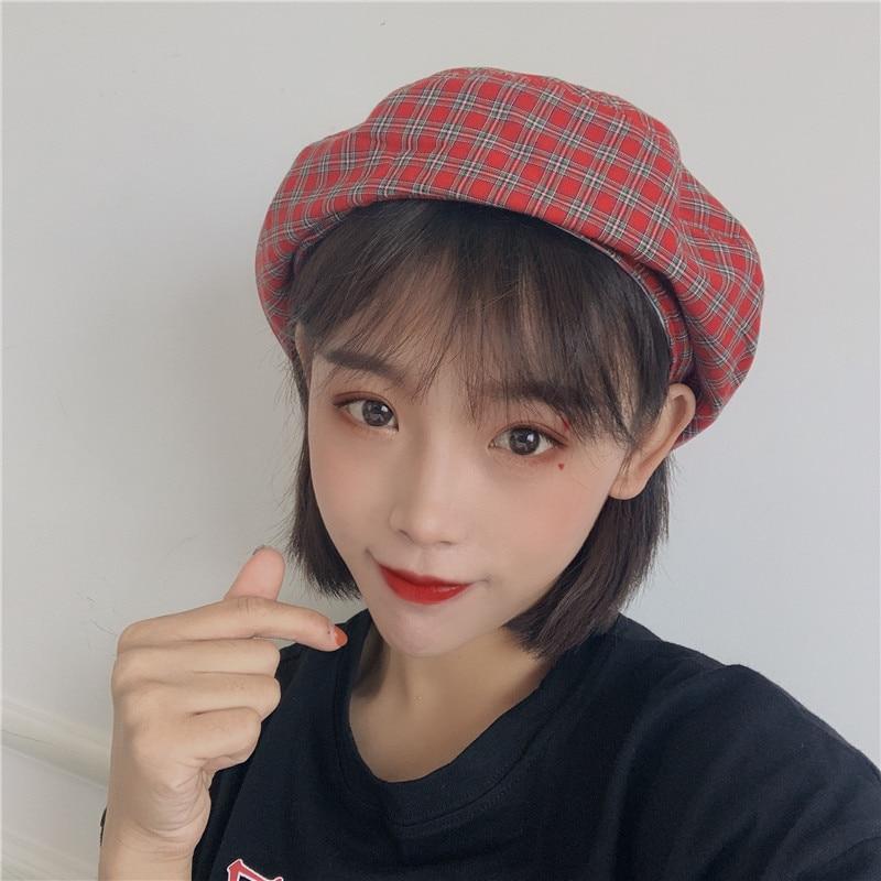 Summer Thin Breathable Painter Japanese Hat Women's Retro Plaid Beret Korean Style Easy Matching Cut