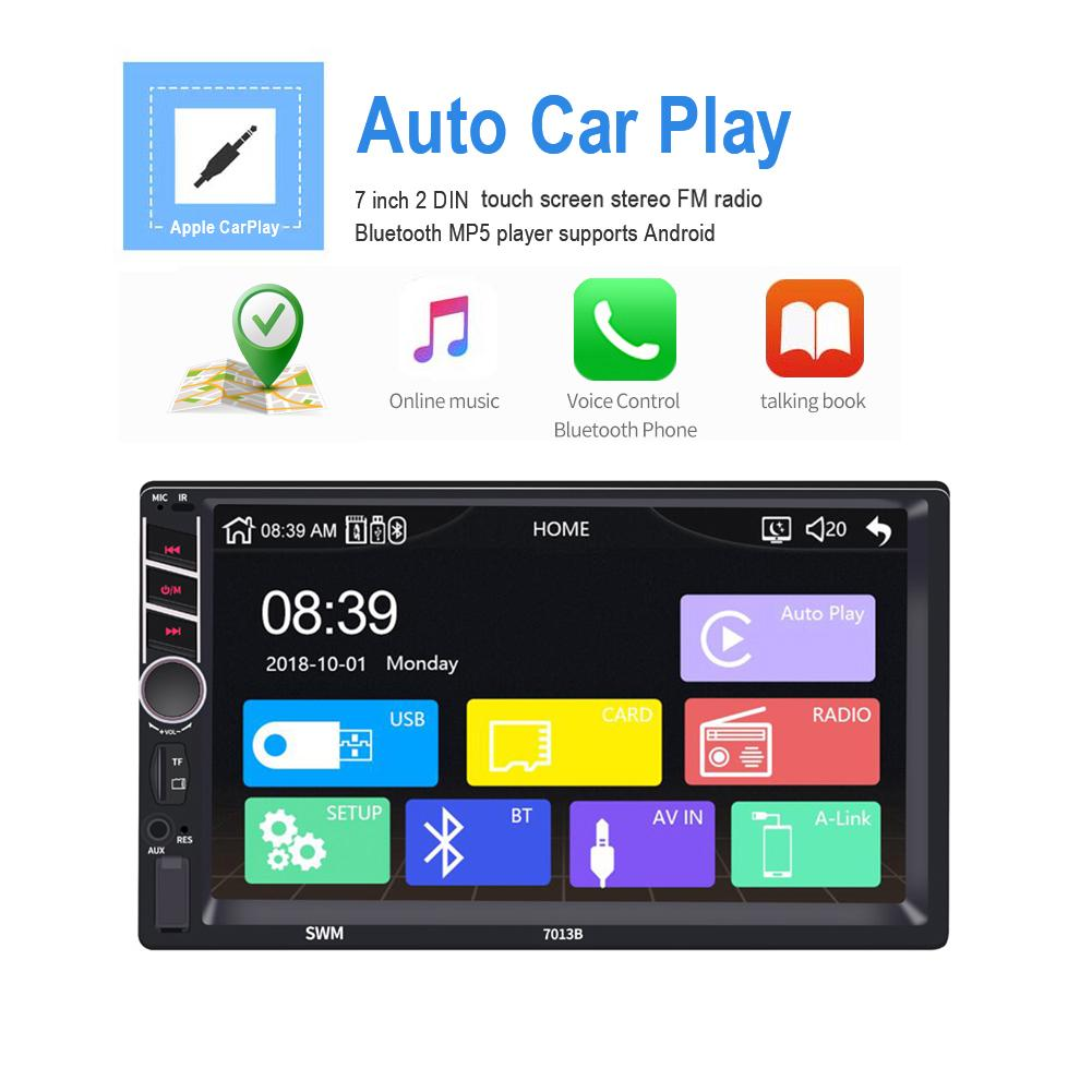 Reproductor Multimedia para coche 7 pulgadas 2 Din pantalla táctil ESTÉREO FM Radio reproductor Bluetooth Mp5 Android/IOS Conexión de imagen apple CarPlay
