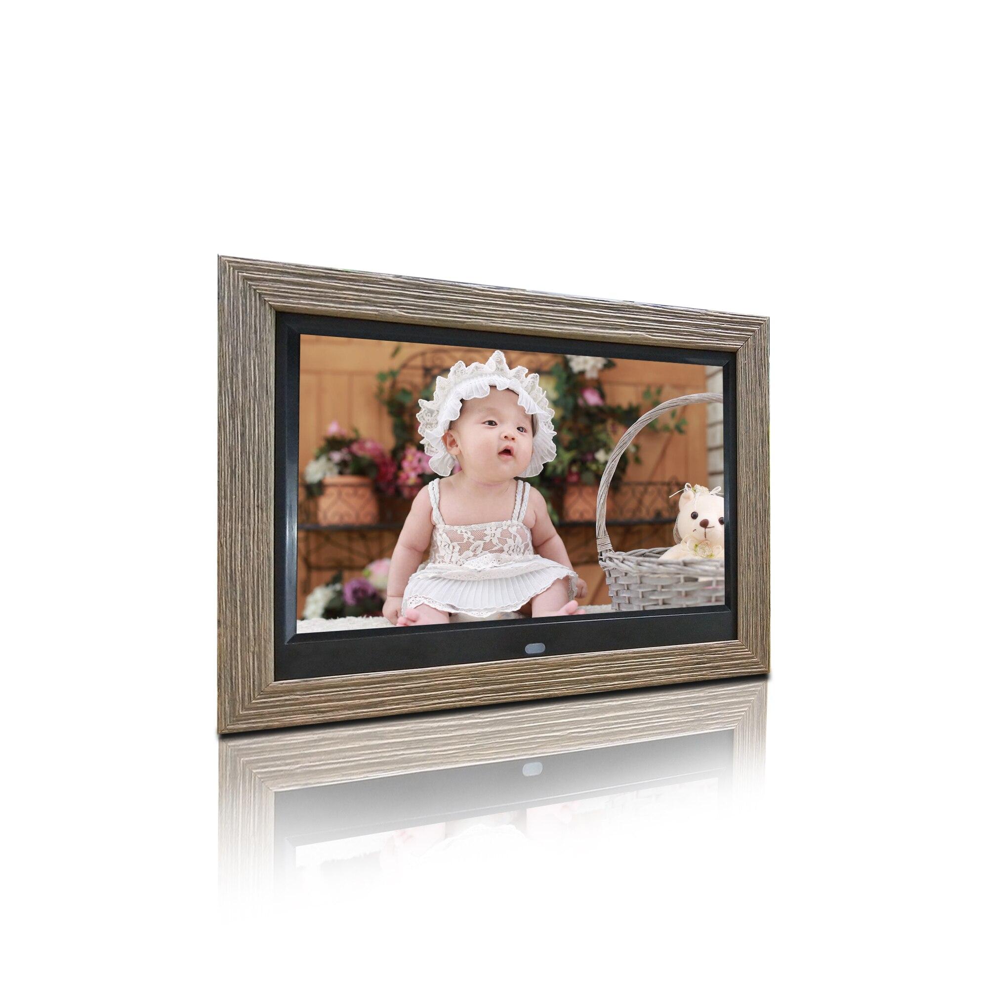 Marco de fotos digital personalizado de 10 pulgadas con marco de madera auto play picture o video IPS pantalla ver 178 grados