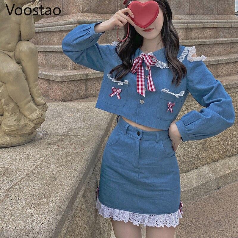 اليابانية Harajuku الحلو لوليتا قطعتين مجموعة المرأة طويلة الأكمام الدانتيل الدنيم بلوزة قميص تنورة عالية الخصر دعوى فتاة 2 قطعة مجموعة