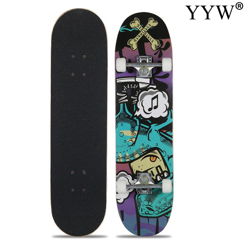 Skateboard Double Rocker Board Maple 4 Wheels Teenager Adult Figure Skating Street 8 Colors Double Up Board Red Colors Frosted