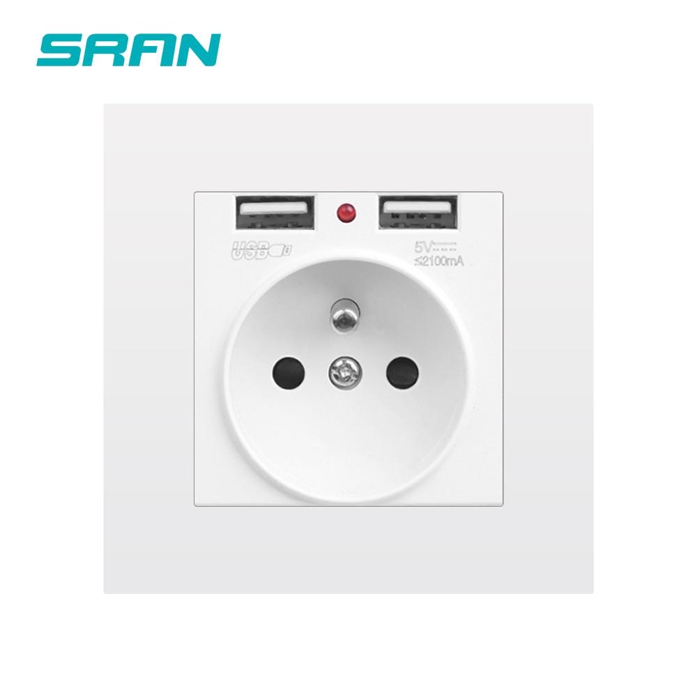 Enchufe de toma de corriente de pared SRAN Francia, enchufe con puerto USB, enchufe eléctrico del panel de PC ignífugo 5V 2.1A 86mm * 86mm