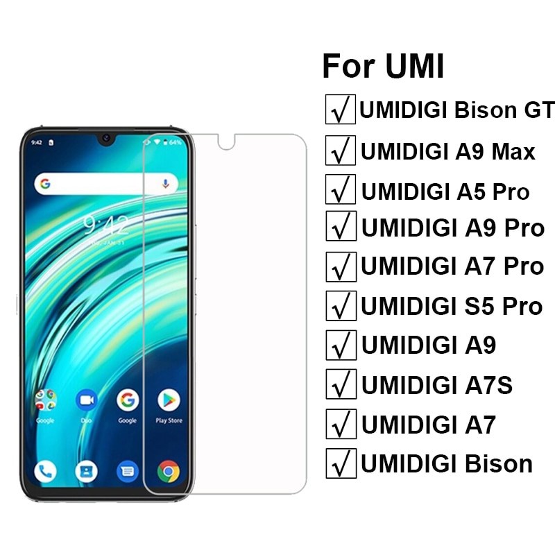 3-1Pcs Protective Glass For Umidigi Bison GT Tempered Glass on Pelicula Umidigi S5 A5 A7 Pro A7S Umi A9 Pro Max Screen Protector