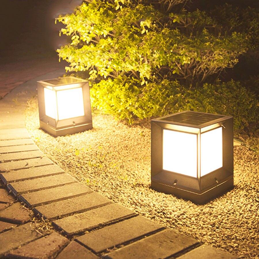Thrisdar-مصباح عمود خارجي يعمل بالطاقة الشمسية ، مقاوم للماء ، للفيلا ، السياج ، الفناء ، المسار ، الحديقة ، عمود الضوء الخارجي