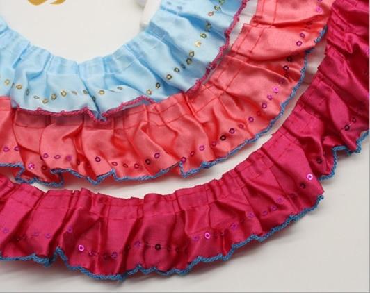 40 yardas de lentejuelas, borde de encaje con volantes, tela plisada de cinta, costura DIY, azul oscuro rojo púrpura