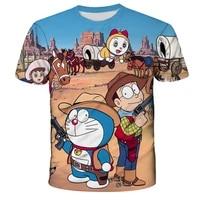 doraemon anime 2021 summer childrens clothing boys short sleeve t shirts childrens tops childrens 3d printed clothes boys t
