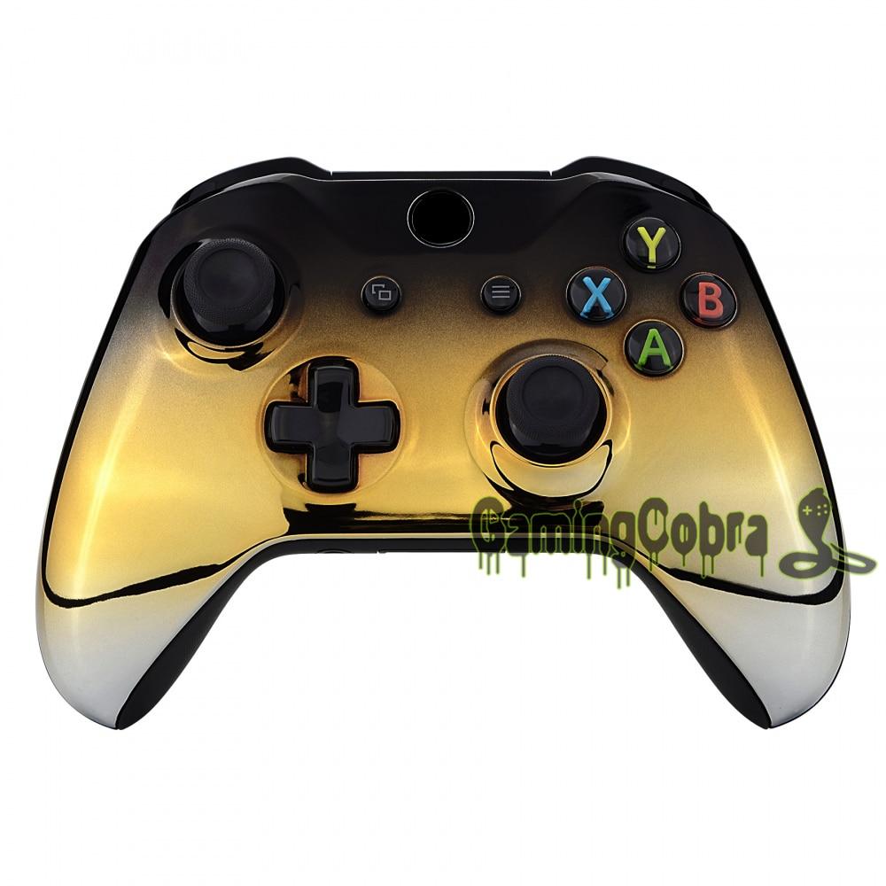 Carcasa superior de placa frontal plateada de Oro Negro cromado/carcasa de repuesto para Xbox One S Xbox One X Controller (1708) - SXOFD09