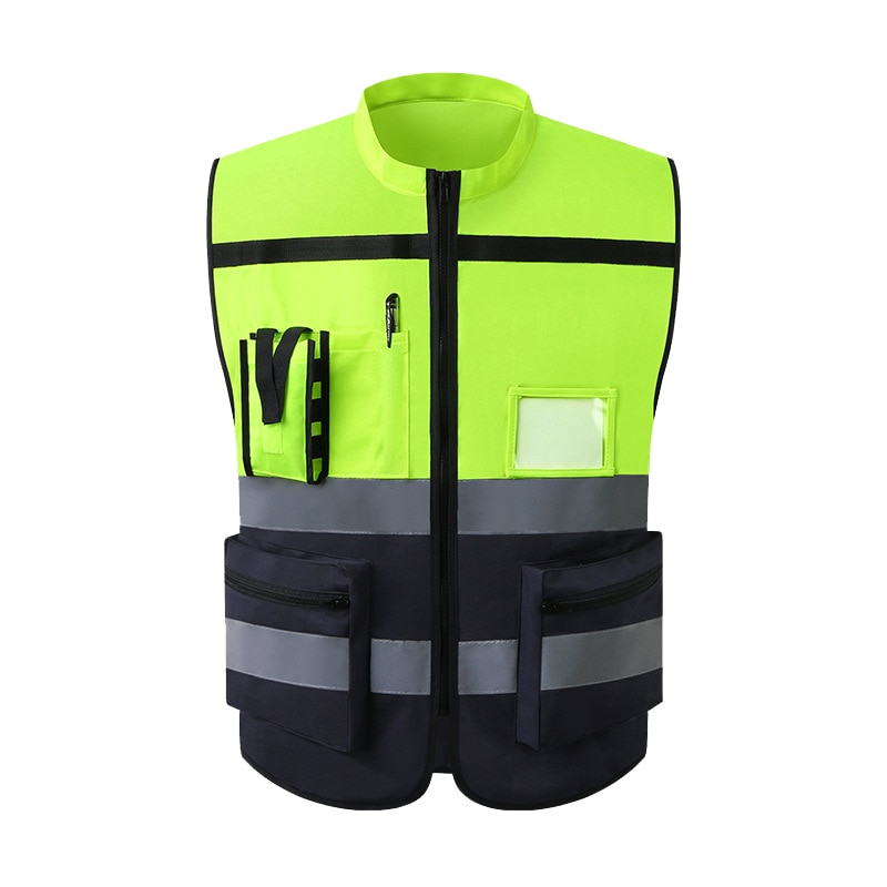 High Visibility Reflective Vest Sleeveless Jacket Men Hi Vis Workwear Uniform Safety Protective Gear
