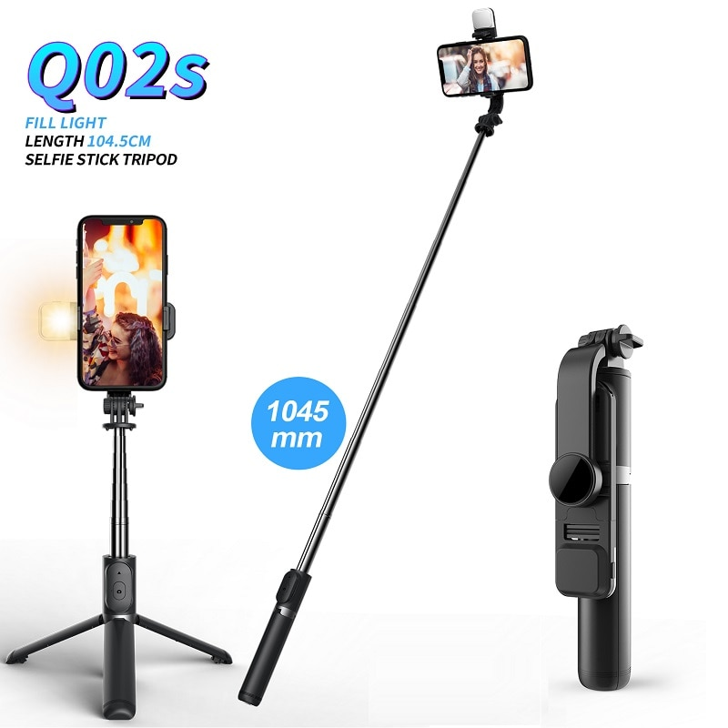 FANGTUOSI Wireless bluetooth selfie stick foldable mini tripod with fill light shutter remote control for IOS Android