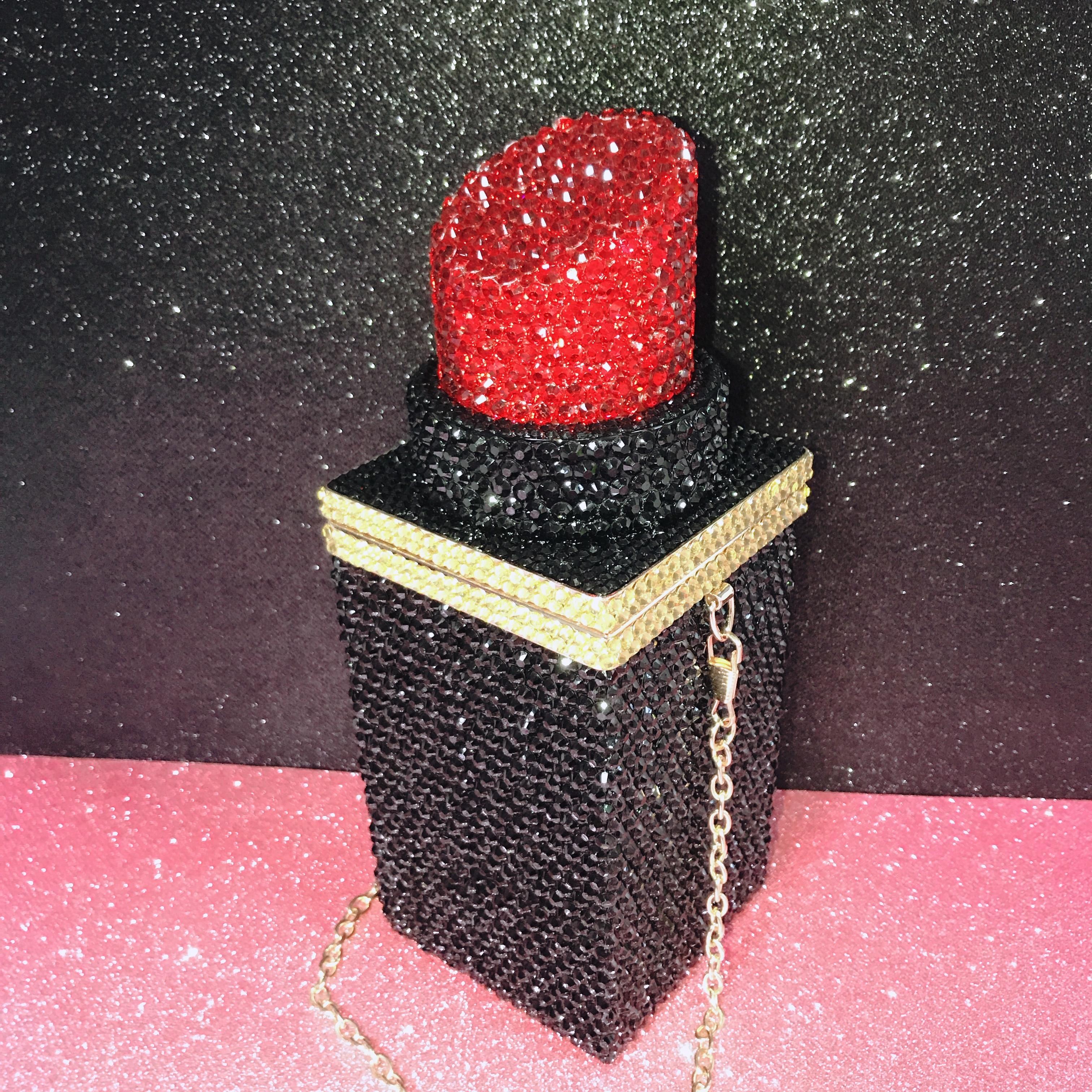 حقيبة تخزين نسائية فاخرة متألقة ، حقيبة كتف بأحجار الراين وأحمر الشفاه ، حقيبة سهرة ، محفظة ، مصمم عصري