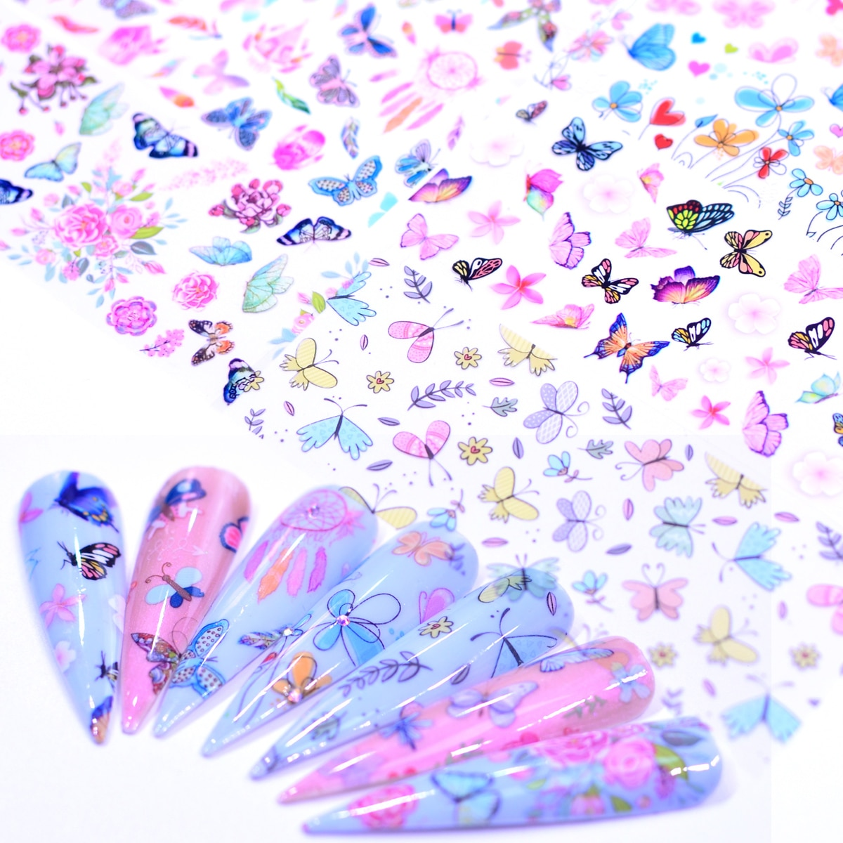 1pcs colorful foil plants 10pcs Butterfly Flower Stickers On Nails Foil Colorful Polish Adhesive Sticker Nail Decals Foil Design For Nail Manicure