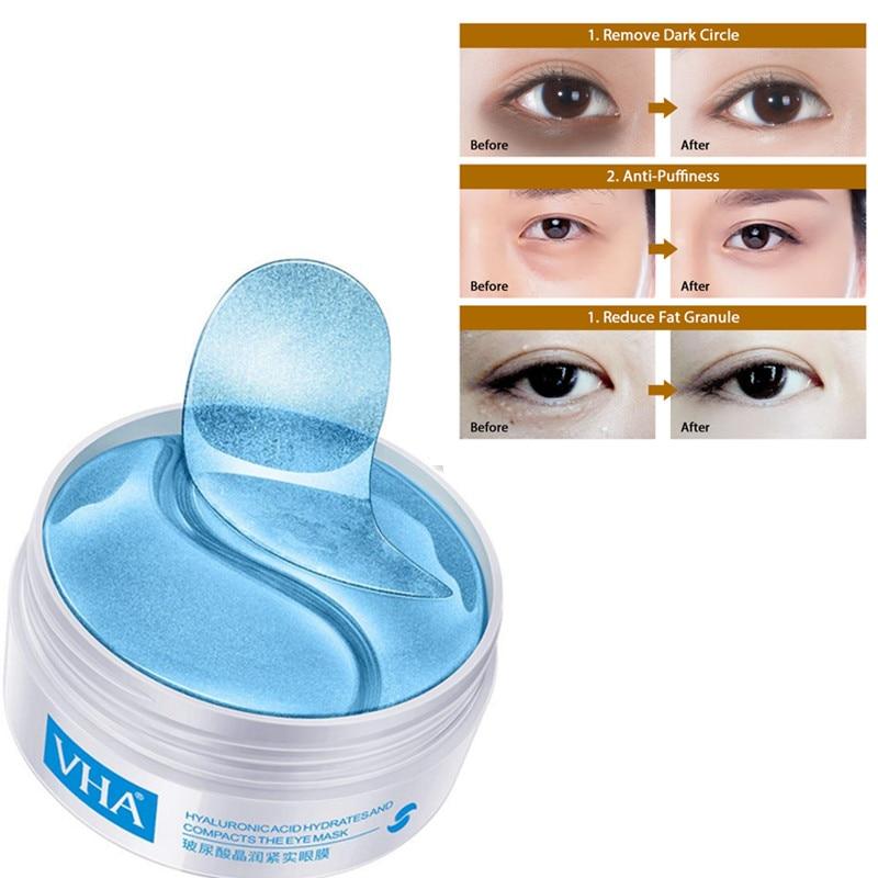 60pcs Hyaluronic Acid Repair Eye Patches Remove Dark Circles Moisturizing Eye Mask Crystal Collagen Gel Mask Eye Skin Care недорого
