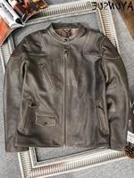 Genuine 100% Leather Jacket Men Vintage Real Cowhide Coat Short Biker Jacket for Men Spring Autumn 2021 Chaquetas Hombre