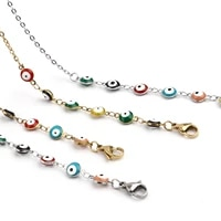 new fashion eyewear chains colorful oil drop evil eye pattern round cross chain stainless steel eyeglass chain 1piece