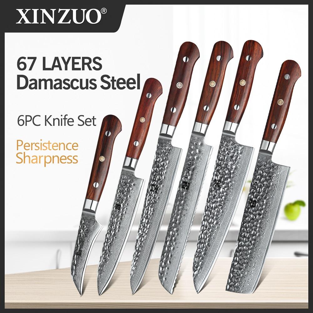 XINZUO, Juego de Cuchillos de Cocina de acero de Damasco, Sashimi afilado, cuchillos de Chef, picar Santoku, pescado hueso, vegetales, Sushi, carne, utensilios de cocina
