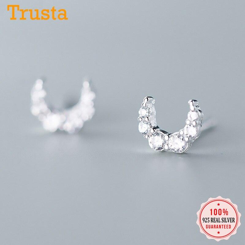 Pendientes Trustdavis Plata de Ley 925 auténtica de moda con forma de Mini Luna CZ para mujer, joyería fina para fiesta de boda DA1531