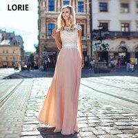 lorie cheap pink chiffon wedding bride dress beach boho elegant lace appliques cap sleeve bridal gown floor length plus size