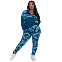 two piece womens casual large size suit camouflage fashion long sleeve sweatshirt high stretch trousers sportwear 2021 spring