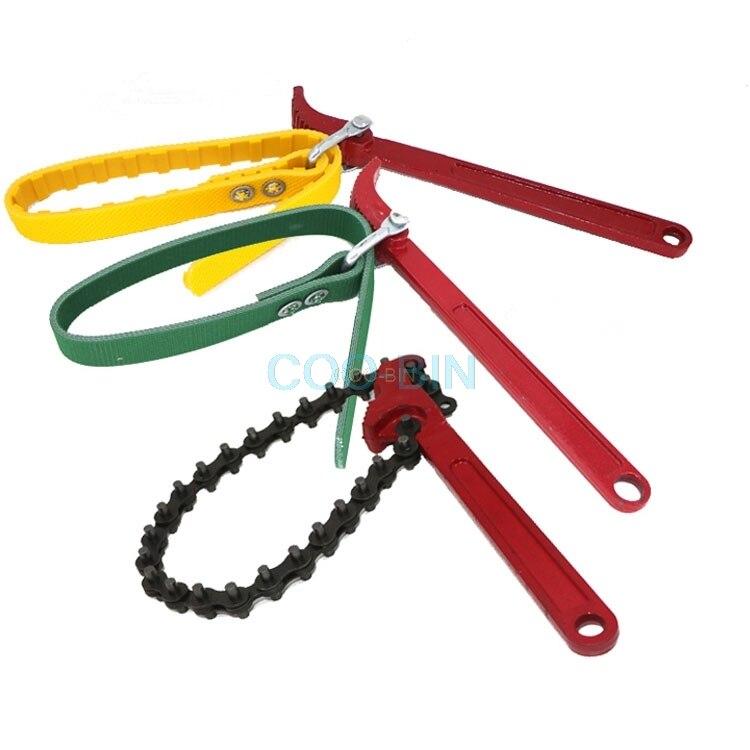 Máquina excavadora llave de filtro Cambio de cadena de aceite llave de filtro cinturón Universal herramienta de rejilla diesel