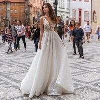 beach glitter wedding dress sexy backless v neck sleeveless lace appliques bridal dress plus size a line wedding gowns women