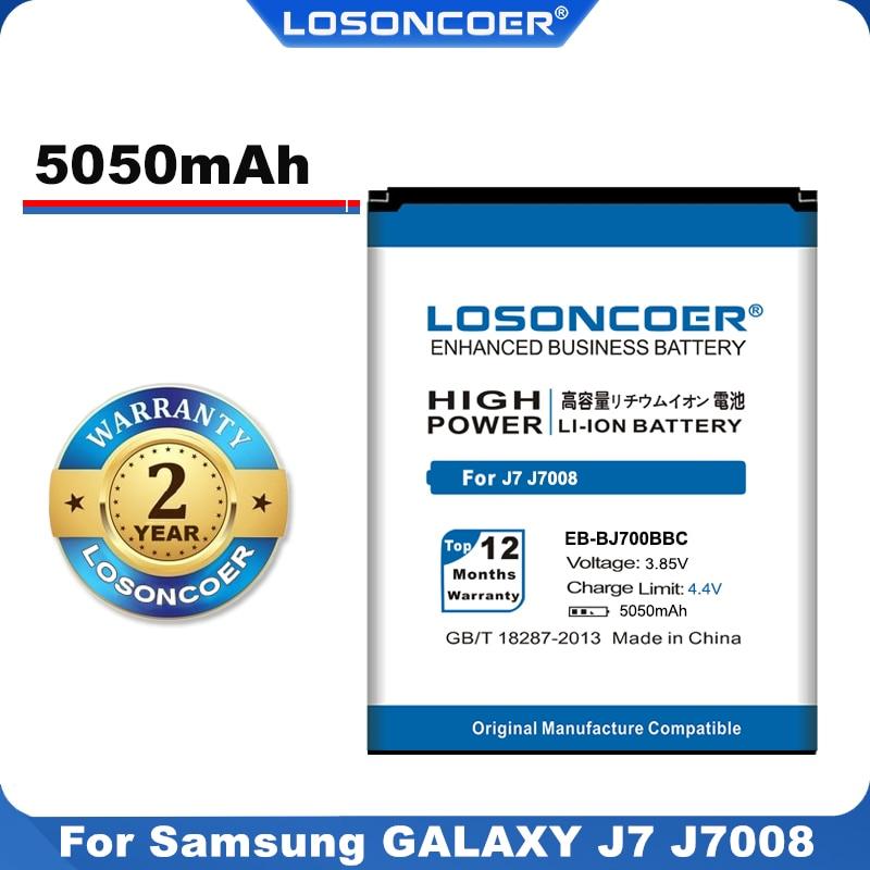 100% Original LOSONCOER 5050mAh EB-BJ700BBC EB-BJ700CBE batería para Samsung GALAXY J7 J7008 J700F SM-J7008 J700 ON7 J7000 G6000