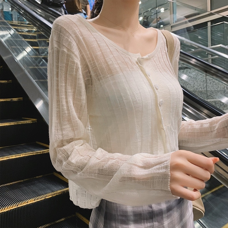 Ice Silk Sun Protection Knit Cardigan Outerwear Shawl Blouse Coat Micro-Transparent Air Conditioning