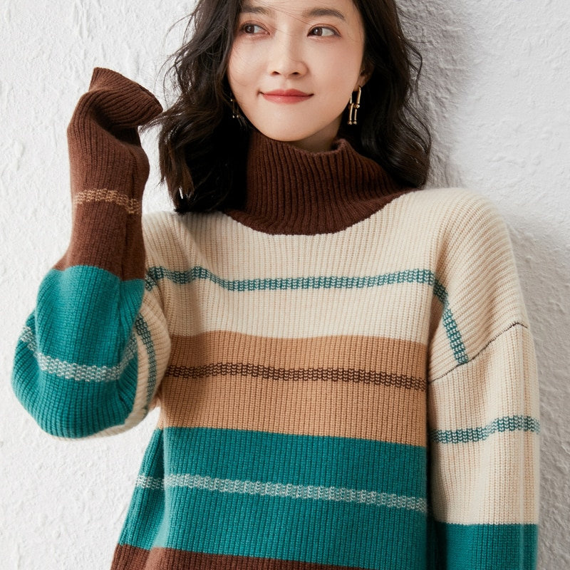 2021 woman winter 100% Cashmere sweaters knitted Pullover jumper Warm Female Turtleneck blouse blue long sleeve Patchwork enlarge